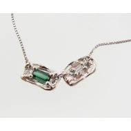 Green Tourmaline and Diamond Necklace, Twin Melted