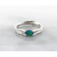 Opal Silver Ring, Pierced, Skinny Melted