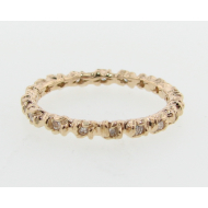 Rosebud & Leaf Band, Yellow Gold & Diamond