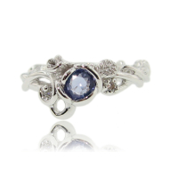 Rose Garden Ring, Full Bloom Tanzanite in White Gold