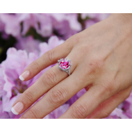 Princess Ring in Pink Topaz, Sterling Silver