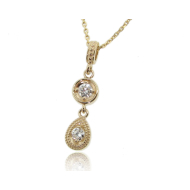Diamond Yellow Gold Necklace, Double Drop