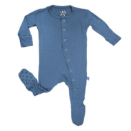 Kickee Pants Basic Footies with Paws Twilight 18-24m