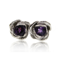 Rose Earrings: Silver & Amethyst