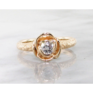 Diamond Yellow Gold Ring, Stacking Solitaire Rose