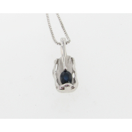 Blue Sapphire Silver Pendant, Melted