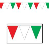 Pennant Banner-Plastic-Red, White, and Green-1pkg-12ft