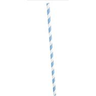 Paper Straws- Striped Light Blue- 10pk/8""