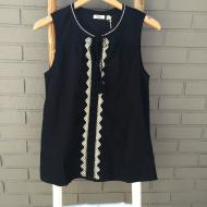 Black Sleeveless Tunic w Jute Embroidery