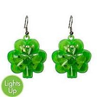 Light Up Earrings-St. Patrick's Day Clovers-1pkg