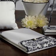 "Guest Book-Black and White Damask-1pkg-6.5""x9.5"""