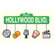 Party Banner with Cutouts-Plastic-Hollywood Movie Night-1pkg