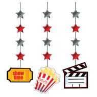 Hanging Cutouts-Hollywood Movie Night-3pkg-36""