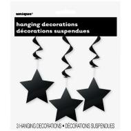 Hanging Foil Decor- Black Stars- 3pk/36""