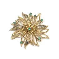 Estate 14kt Yellow Gold Emerald and Diamond Pin