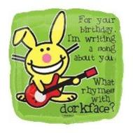 Foil Balloon - Happy Bunny Birthday Song - 18""