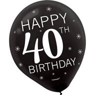 Balloons-Latex-40th Birthday-12''-15pk