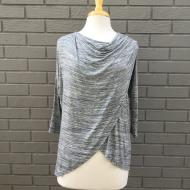 Cowl Neck Crossover Tee Heather Charcoal