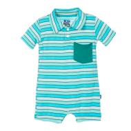Boy Tropical Stripe Polo Romper w/ Pocket