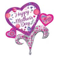 "Foil Balloon - Happy Mother's Day Hearts - 26""x29"""