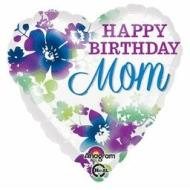 Foil Balloon - Floral Happy Birthday Mom - 18""