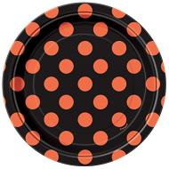 Beverage Paper Plates- Orange & Black Dots- 8pk/7""