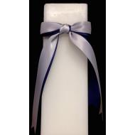 Candle-Navy.Silver Ribbon-10''