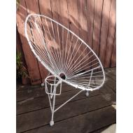 Wire Iron White Egg Chair w/ Cup Holder