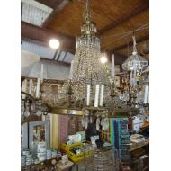 "48"" x 48"" Brass Crystal Lined Chandelier"