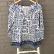 Mosaic Blouse w Embroidered Border Indigo White