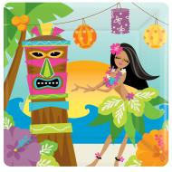 Plates-Square-Summer Luau-Tiki-8pk-Paper - Discontinued