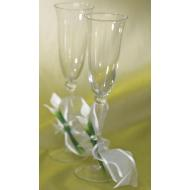 Flute Wedding Glasses-Calla Lilly Base-2pkg-9.75""