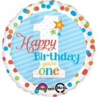 Foil Balloon - 1st Birthday - Happy Birthday You're One - Blue Stripe - 18""