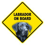 Pet On Board Sign Labrodor Retriever Black