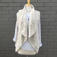 Textured Fur Draped Vest Chalk White