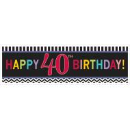Banner-40th Bday-Plastic-65'' x 20''