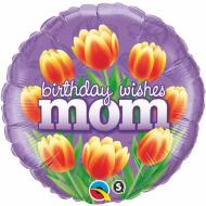 Foil Balloon -Birthday Wishes Mom Tulips - 18""