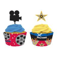 Cupcake Wraps & Toppers-Hollywood Movie Night-12pkg