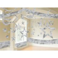 Room Decor Kit-Silver-Foil- 28Pk