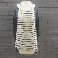 Black White Stripe Piece Tunic Top