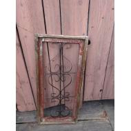 Small Red Wood and Iron Rectangle Window Panel