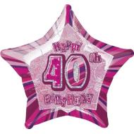 Foil Balloon - Star - Happy 40th birthday - Pink - 20""