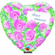 Foil Balloon - Avec Amour Pink Roses - 18""