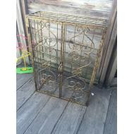 Gold Iron Glass Shelf Cabinet 30x22x8