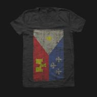Acadian Flag Tri Black Womens Tee