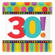 Plates-Bev-30th Bday Dots and Stripes-8pk-Paper