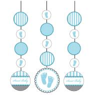 Hanging Cutouts-Sweet Blue Baby Shower-3pkg-36""