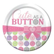 Plates-LN-Cute as a Button Girl-8pkg-Paper - Discontinued