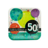 Plates-LN-Life is Great at 50-8pkg-Paper