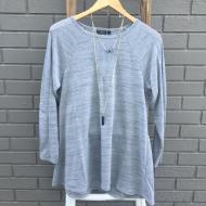 Long Sleeve Knit Grey Top Cable V Insert